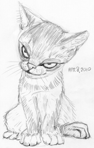 Cute kitten, drawn live on April 9, 2010