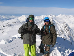 Ian and Marc standing on a peak in Valdez
