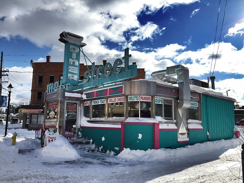 Some snow at the Main Street Diner.