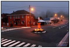 Misty Morning (juliewilliams11) Tags: historic mist fog light street stripes mood morning february summer powerpole lines contrast photoborder glow highlight early dawn newsouthwales australia buildings architecture road landscape grey