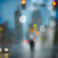 Man Walking In The City (Michael Regnier) Tags: blurry nighttime cityscenes
