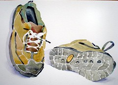Erico's sneakers (Dona Mincia) Tags: stilllife green art watercolor painting shoe beige lace gray sneakers sneackers