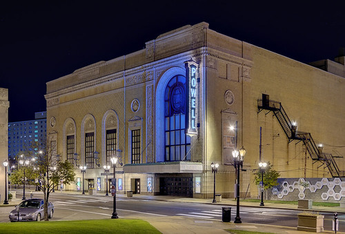 Powell Symphony Hall, in Saint Louis, Missouri, USA - view at night