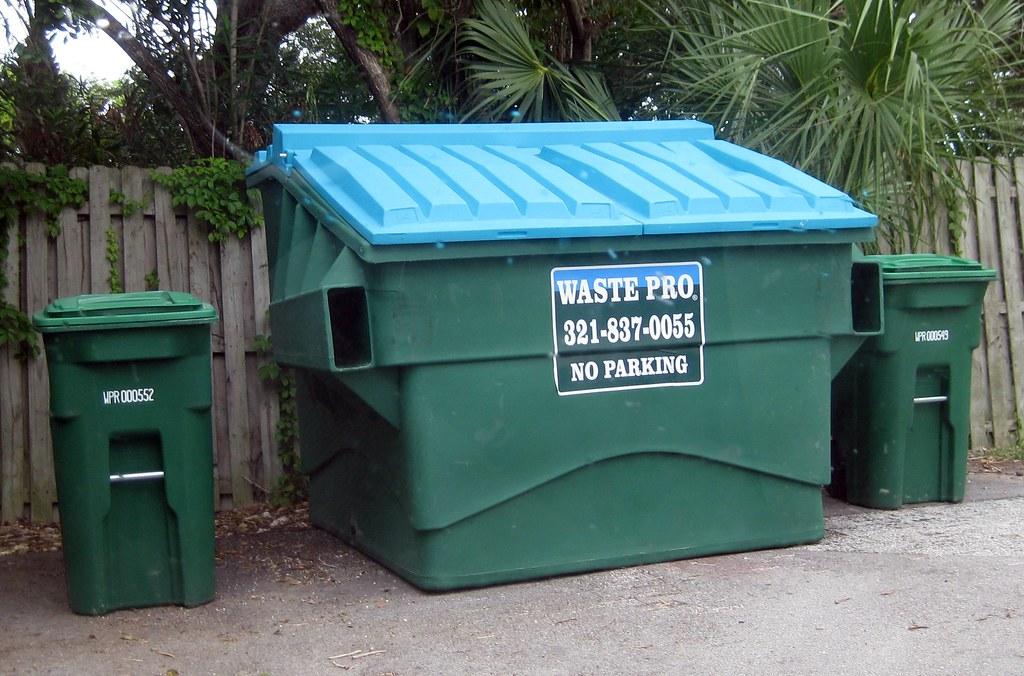 waste pro rehrig plastic dumpster 6yd with 2 64 gallon toter recycling carts