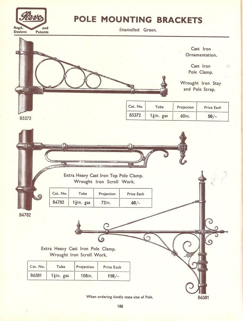 Revo of Tipton - street lighting catalogue c1938 - street light pole mounting brackets 1