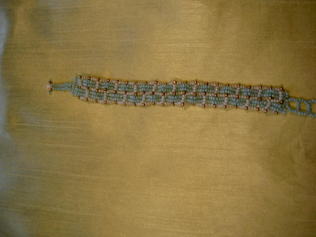 Aquamarine and Ivory Woven Braclet