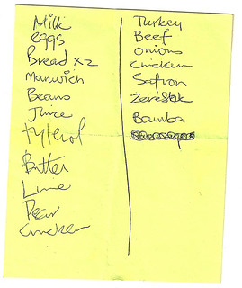 Found shopping list