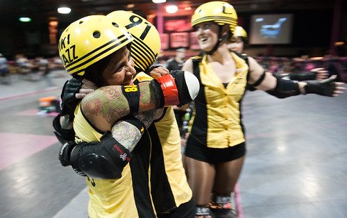 Happy swarm skaters celebrate