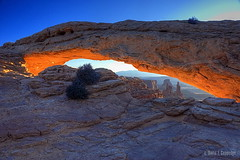 Mesa Arch morning (Chief Bwana) Tags: sunrise utah sandstone arch canyonlandsnationalpark canyonlands 100views 400views 300views 200views 500views 600views 700views mesaarch islandinthesky navajosandstone photomatix washerwomanarch psa104 chiefbwana