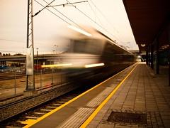 Train in motion (dubbelt_halvslag) Tags: city longexposure motion blur norway train canon stavanger norge long exposure raw action platform railway motionblur filter nd nsb paradis tog rogaland tg g10 lngexponeringstid