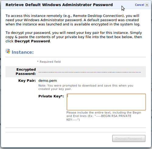 AWS Management Console - Get Password @ 20091208