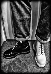 Black and White, black or white Docs. (CWhatPhotos) Tags: pictures original white fish man black male eye feet yellow by canon that lens boot foot eos rebel photo shoes with martin boots photos lace dr air acid picture taken wear fisheye using have doctor adobe stitching manual comfort doc martins unionjack cushion marten soles manualfocus docs laces drmartens bouncing xsi airwair lightroom fisheyelens docmartens docmartin martens dms f35 65mm docmartins aspherical 8hole opteka resistant cushioned fisheyeview wair 450d paintshopprophotox2 yellowstitching rebelxsi opteka65mm cwhatphotos laceed