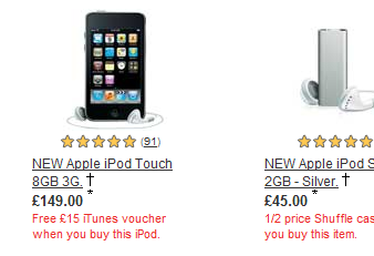Argos ipods image link before text