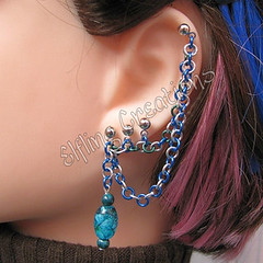 Sea Blue and Green Double Cartilage Chain Earring with multiple posts