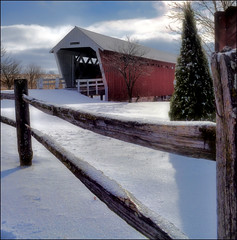 Baby It's Cold Outside! (rods pix) Tags: trees red white snow building tree geotagged nikon midwest iowa weathered lonely madisoncounty forlorn coveredbridges d5000