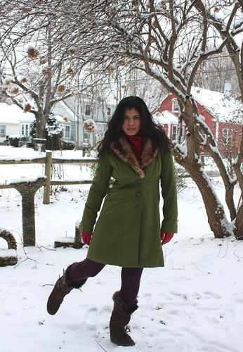 Green Coat, Brown Boots, Cranberry Gloves