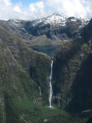Sutherland Falls near Milford Sound from the air (Dennisworld) Tags: newzealand waterfall flight southisland fjordland scenicflight sutherlandfalls smallairplane