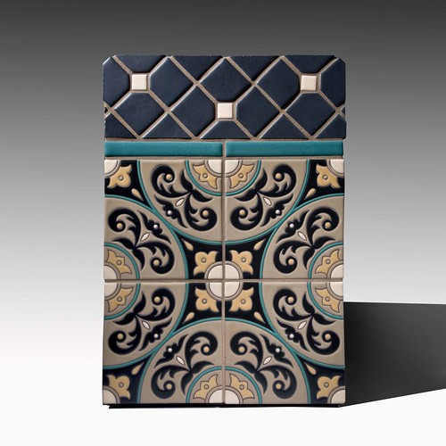 Coimbra Concept Board wit Fireclay Cuerda Seca Decorative Tiles
