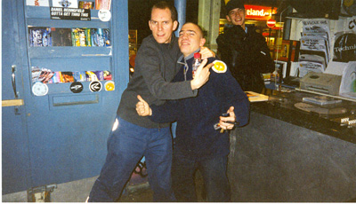 Artwork and Skream in Big Apple records Croydon, circa 2001