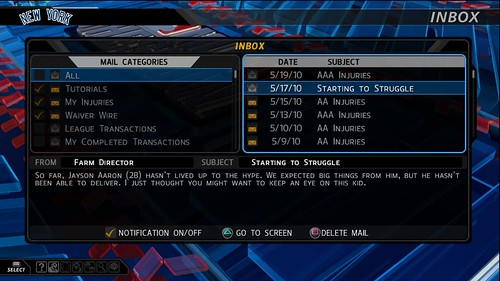 MLB 10: The Show Inbox