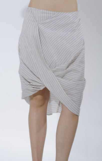 eco shopping Nicole Bridger draped organic cotton skirt at Embidies 1