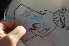 in the car-rider line this afternoon (cathygaubert) Tags: ursula hoopupstitchandsendswap