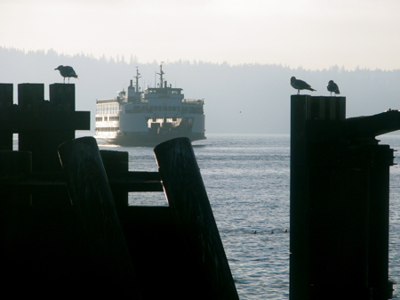 Ferry arrives in Clinton on Whidbey Island from Mukilteo
