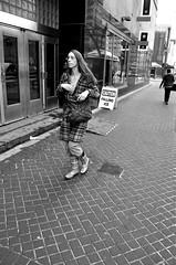 plaid (teh hack) Tags: street bridge people bw woman canada mike girl person photography photo nikon women downtown jasper edmonton boots candid theend rubber nb alberta plaid d5000