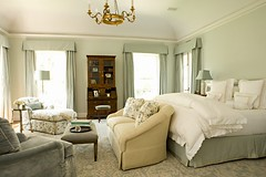 Elizabeth Dinkel (It's Great To Be Home) Tags: blue white gold bedroom pattern traditional secretary armoire neutral seatingarea