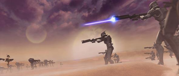 Clones atacando droides de batalha.