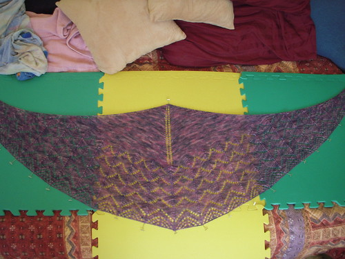 Traveling Woman Shawl -- blocking