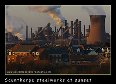 Scunthorpe Steelworks (Paul Simpson Photography) Tags: uk houses homes sunset chimney england urban industry beauty europe industrial rooftops employment tata adventure business works scunthorpe coolingtower urbanlife steelworks urbanphotography housingestate chimnies corus britishsteel photosof imagesof paulsimpsonphotography