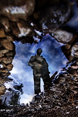 Rocky (Gilad Benari) Tags: blue shadow sky man reflection art water silhouette print poster puddle israel stand telaviv rocks different stones rocky   gilad roky florentin    rocky5 benari