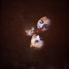 a caricature of drowning (brookeshaden) Tags: rain darkness faces clown caricature mime mimic drowning exaggeration groupselfie brookeshaden texturebylesbrumes