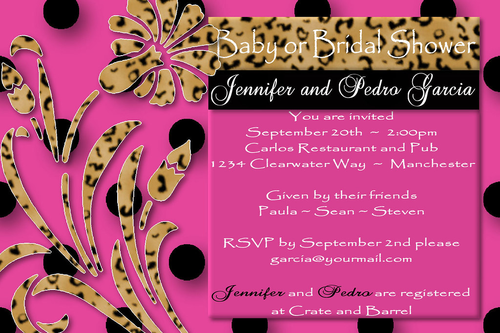 3 pink black leopard flower leopard,pink, bow, polka dot,circle, polka, dot, baby, shower, invitation,brown,damask, leopard, black, white, silver, green,carriage,stroller,buggy,hot pink, animal print,