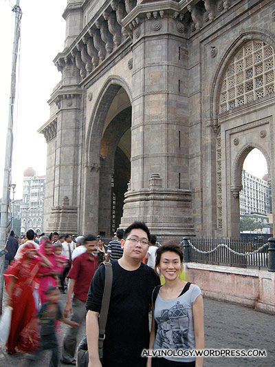 Rachel and I by the monumental Gateway of India