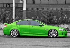VE Commodore SS 6.0 litre V8 (Highway Patrol Images) Tags: blue red green ford photoshop highway edited police turbo falcon commodore modified chopped lowered patrol v8 holden slammed decked