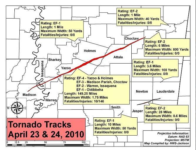 Tornado Tracks Apr 23 & 24, 2010