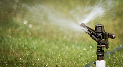 Making it Rain (maytag97) Tags: maytag97 tamron 150 600 sprinkler upclose closeup outdoor lawn water spray grass bokeh detail