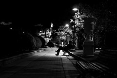 Thoughts at night (Daniel Nebreda Lucea) Tags: night noche park parque man hombre sit sentado thinh pensar pensamientos alone solo shadows sombras black white blanco negro noir monochrome monocromo nature naturaleza urban urbano travel viajar zaragoza spain españa canon 50mm 60d long exposure larga exposicion feel sentimiento silhouette silueta people gente thought pensamiento city ciudad dark oscuro darkness oscuridad silence silencio midnight moon luna