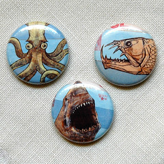 SWEETIE PIE PRESS COLLABORATION photo two (MATTY™) Tags: fish canada art animals monster buttons tiger pins deepsea deepforest sweetiepiepress artistseries