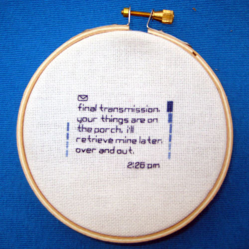 Embroidered text messages = brilliant.  (by Christi Ginger)