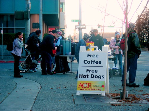 A church was giving out free hotdogs & coffee outside Kaladi Brothers downtown. I skipped the freebies in favor of writing.