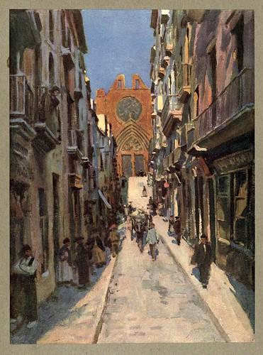023-Calle y catedral de Tarragona-An artista in Spain 1914- Michael Arthur C.