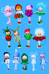 New Batch! (boopsie.daisy) Tags: christmas decorations holiday apple girl cane marie japan angel forest vintage pose snowman doll dolls candy bell handmade ooak inspired doe deer figurines fawn bow present drummer antoinette swirl peppermint dogwalker boopsiedaisy