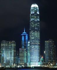 Hong Kong - Central's Skyscrapers at Night (cnmark) Tags: china light two building tower skyline architecture modern night skyscraper buildings square geotagged boats four hongkong one hotel noche pier boat site construction ship cityscape seasons nacht crane centre ships central hong kong explore international land noite tall   grattacielo nuit ifc exchange barge gebude notte reclamation nachtaufnahme finance tallest barges wolkenkratzer rascacielo gratteciel  arranhacu 2ifc thecenter 1ifc explored  allrightsreserved  goldstaraward nikonflickraward50mostinteresting mygearandmepremium geo:lat=22285096 geo:lon=114174138 mygearandmebronze mygearandmesilver mygearandmegold mygearandmeplatinum