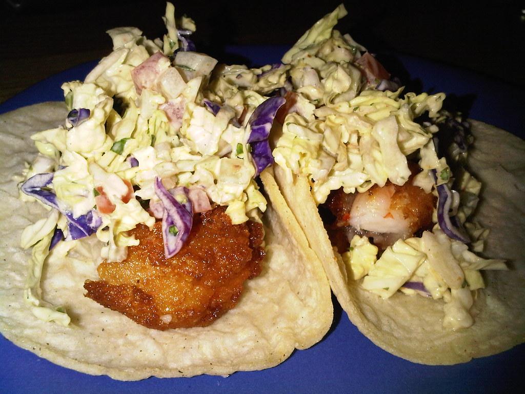 Estilo Baja - beer battered shrimp, roasted habanero, avocado cole slaw