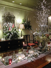 MOBILE BAY FLOCKED ROOM WITH PALE PINK ON THE TABLE (LenaeDenson.com) Tags: christmas tree gold mirror orchids cone chocolate hydrangeas freshfruit redandgreen flocked