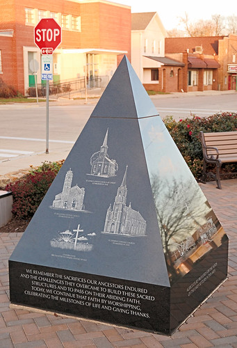 Pyramidal historical monument, in Breese, Illinois, USA