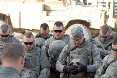 South Dakota Guardsmen pause in prayer prior to departing on mission in Afghanistan (The National Guard) Tags: usa afghanistan southdakota soldier army us prayer pray sd missouri nationalguard mission engineer afghani oef operationenduringfreedom sappers isaf sharana